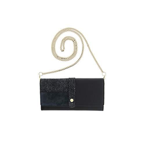 borbonese borsa clutch portafoglio large patta con catenina (Nero/Blu)
