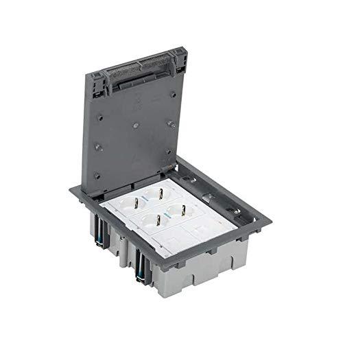 Simon 52006301-030 - Kit Caja De Suelo Simon 500 Cima 3 Módulos Con 2 Bases Doble Schuko Embornado Por Corte-Rápido Con Led, 2 Placas V&D Para 1 Conector