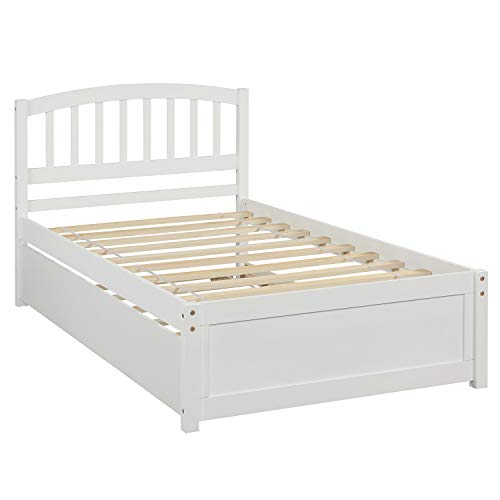 White Wood Single Daybed Frame with Underbed Trundle Guest Bed