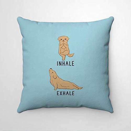 EricauBird Inhale Ehale Golden Retriever Premium Thraow Funda de almohada, almohada decorativa, moderna para el día de San Patricio, dormitorio interior, sofá, sala de estar, coche.