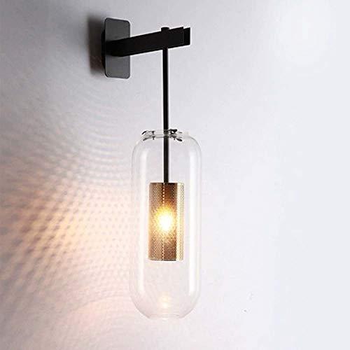 MJZHJD Lámpara de Pared de galvanoplastia Hardware Hueco cilíndrico de Cristal del Metal de la lámpara de Pared del Accesorio de iluminación Negro Oro Luz de Pared (Color : Negro)