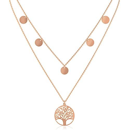 Reskthetic® - Lebensbaum Kette verstellbare 5 Coin Damen Halskette I Frauen Lebensbaumkette in Rosegold aus Edelstahl I Baum des Lebens Kette…