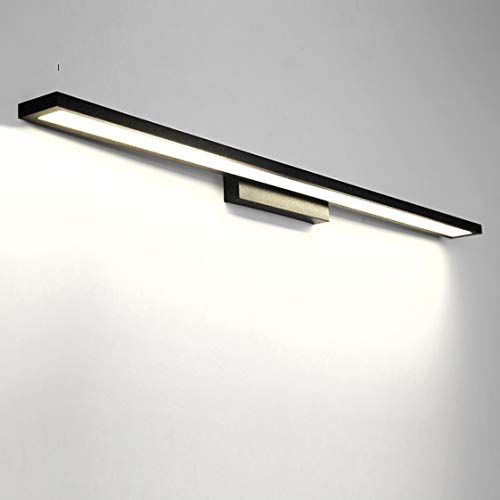 HMAKGG Aplique de Baño para Espejo, Luz Maquillaje para Espejo Aluminio Lámpara de Espejo de Baño, Lámpara de Pared LED para Espejo/Gabinete/Pared,Black/White Light,36W/90CM