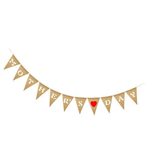 NUOBESTY Banner para el Día de la Madre Feliz Día de la Madre Guirnalda de arpillera para el Día de la Madre, Decoración rústica para el Día de la Madre
