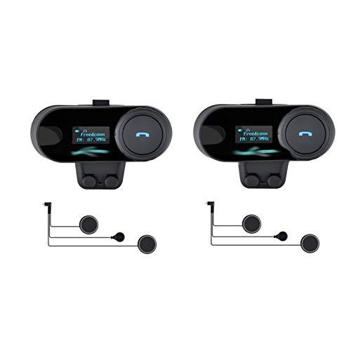 XYBH Xybhjxb Casco de Motocicleta Walkie Talkie Motocicleta Bluetooth Walkie Talkie Headset LCD Screen FM Radio (Color : 2 Soft Mic intercom)