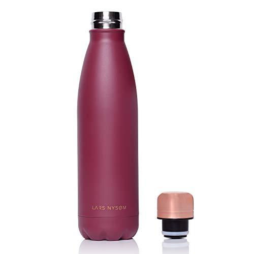 LARS NYSØM Edelstahl 500ml Trinkflasche mit Deckel in Rosegold | BPA-freie Isolierflasche | Auslaufsichere Wasserflasche für Sport, Fahrrad, Hund, Baby, Kinder (Berry)