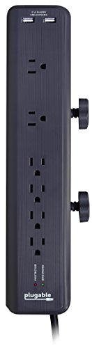 Plugable 6 AC Outlet Surge Protector with Clamp Mount for Workbench or Desk. Built-in 10.5W 2-Port USB Power for Android, Apple iOS, and Windows Mobile Devices.