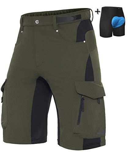 XKTTAC Herren MTB Hose mit Sitzpolster 3D-Schnelltrocknende MTB Shorts Atmungsaktiv- Elastizität Radhose Und Radunterhose (Grün+Pad, XL)