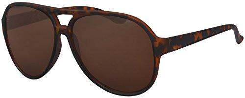 Sonnenbrille Herren Damen La Optica UV 400 CAT 3 Retro Pilotenbrille Fliegerbrille - Gummiert Leoparden Muster (Braun)