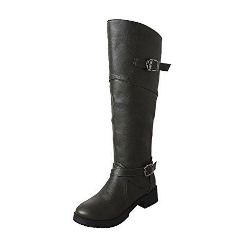 Deelin dames herfst winter mode leer riddergesp kunstdames laarzen dikke hiel laarzen