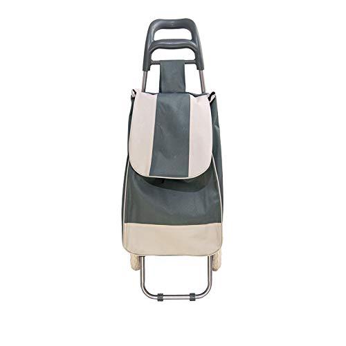 VIRSUS Palucart Carrello portaspesa, Trolley per la Spesa in Acciaio e Tessuto con Ruote richiudibile Varie colorazioni (Grigio)
