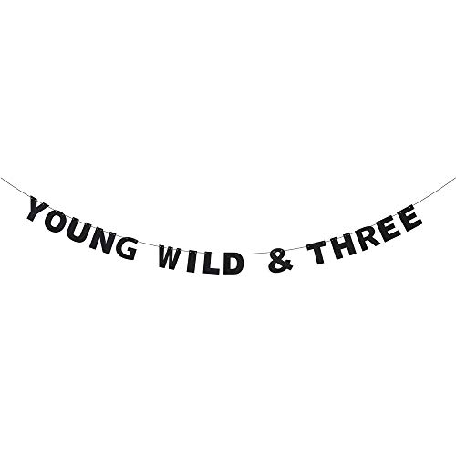 Young Wild & Three Birthday Banner - Kids 3rd Bitrhday Lovely Black Glitter Letters - Boys Girls Three Years Old Anniversary - Happy Third Birthday Party Decoration