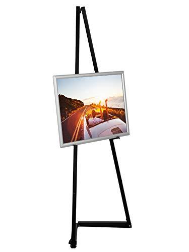 DISPLAY SALES mobile Staffelei aus Aluminium schwarz, für Rahmen bis 120 cm, Künstler Alu-Staffelei Leinwand Malstaffelei