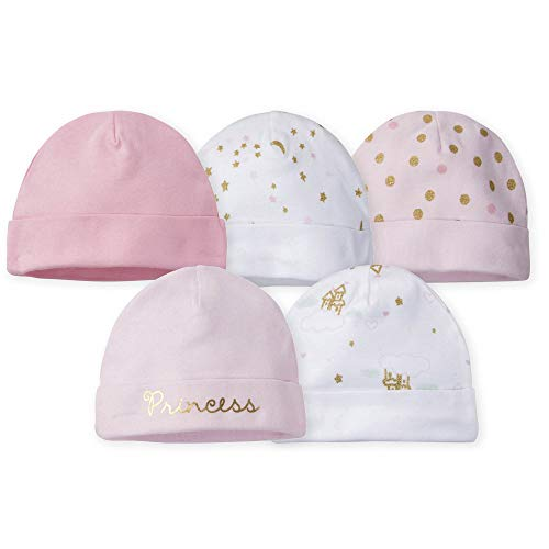 Gerber Baby Girls 5-Pack Caps, Princess Arrival, 0-6 Months