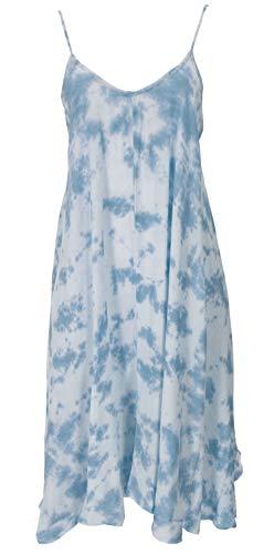 Weites Minikleid Boho chic, langes Top, kurzes Kleid, Benares Longtop - Batik/hellblau / Kurze Kleider
