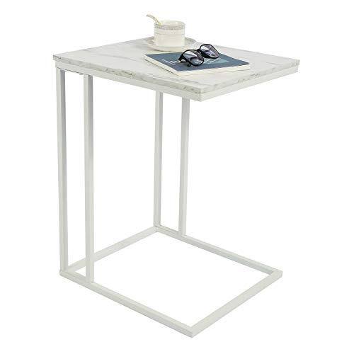 Amazon Brand – Umi Sofa Side End Table, Industrial Side Table, C Shaped Table, Coffee Tray Side Desk, Beside Bed Sofa Portable Workstation, Laptop Holder Table, Wood Tabletop with Sturdy Metal Frame