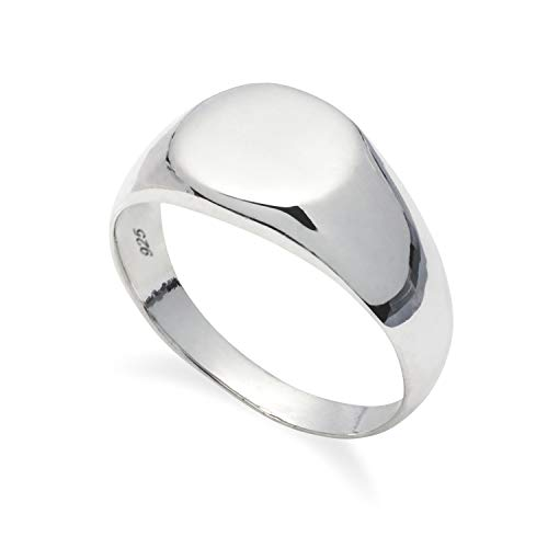 925 Solid Sterling Silver Round Signet Ring in Sizes G-Z (G)