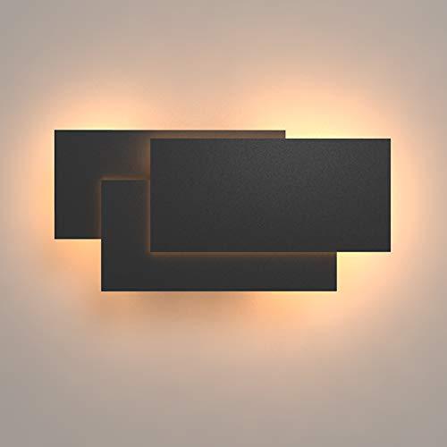 Klighten Aplique de pared Lámpara Moderno LED 24W Lámpara para Decoración del Hogar Pared Dormitorio Pasillo Entrada Blanco cálido 2700~3200K, Negro