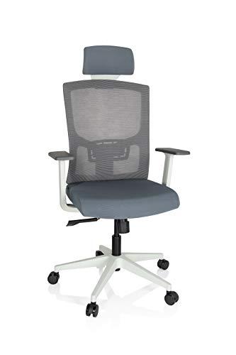 hjh OFFICE 732108 Profi Bürostuhl CAPTIVO Base W Stoff Grau/Weiß Drehstuhl ergonomisch, Netzrücken, höhenverstellbar