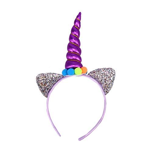 Beaupretty Licorne Corne Bandeau Paillettes Oreille Chapeaux Dessin Animé Cheveux Cerceau Cheveux Accessoires pour Pâques Licorne Cosplay Mascarade Costume de Fête (Violet)