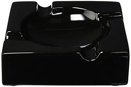 8' Sigara Large Black Ceramic Cigar Ashtray for Patio/Outdoor Use (4 Cigar Rest)