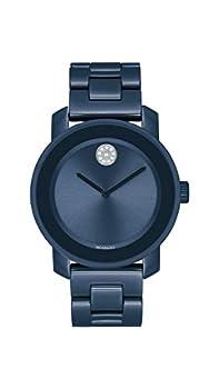 Movado Women s Stainless Steel & Ceramic Swiss Quartz Watch with Ceramic Strap Blue 18  Model  3600756