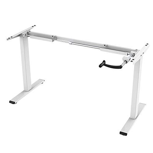 ALLDREI Höhenverstellbarer Schreibtisch Kurbelverstellbares Tischgestell, bis zu 121 cm, 70 kg, 2-stufiger Sitzpultrahmen (Weiß)