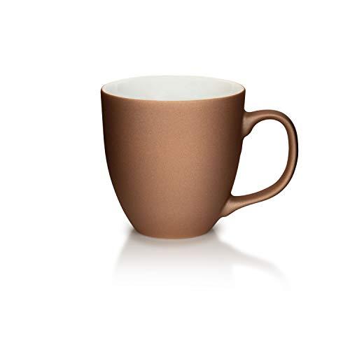 Mahlwerck Jumbotasse, Große Porzellan-Kaffeetasse mit Soft-Touch Oberfläche, Kupfer-Design, 400ml