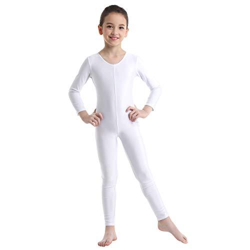 ranrann Kinder Mädchen Jungen Langarm Body Bodysuit Sport Overall Ballett Trikot Tanz Leotard Ganzkörperanzug Einteiler Ballettanzug Gymnastik Turnanzug 5-12 Jahre Weiß 128-140/8-10 Jahre