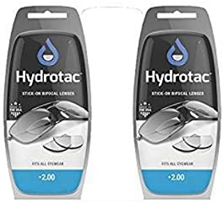 Hydrotac OPTX 20/20 Stick On Magnification Reusable Bifocal Lenses - +2.00 Diopter (Pack of 2)