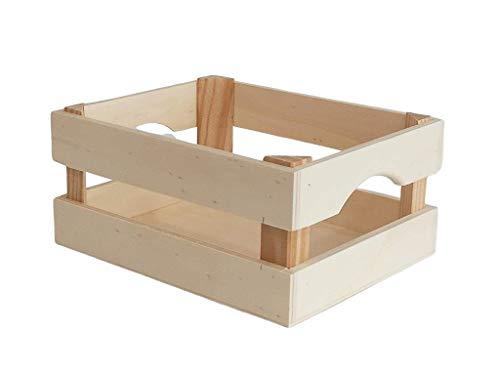 Greca Caja Frutas pequeña. En Madera de chopo y Pino, en Crudo. Medidas: (Ancho/Fondo/Alto): 25 * 20 * 11 cms.