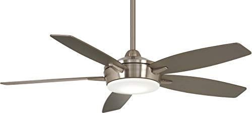 Minka-Aire F690L-BN/SL Espace 52 Inch Ceiling Fan with Integrated 18W Dimmable LED Light in Brushed Nickel and Silver Finish