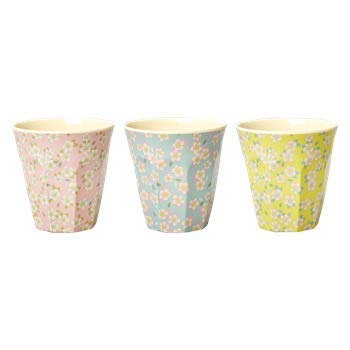 Rice Melamin Becher 3er Set 9 cm hoch mit Small Flower Blumen Print