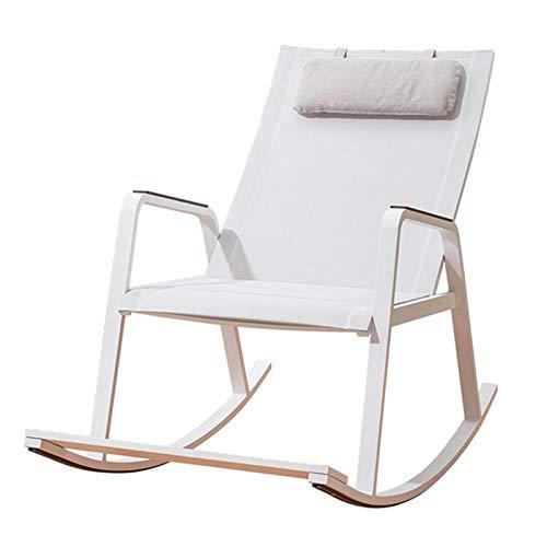 XLSQW Terrasse im Freien, Schaukelstuhl, Chaise Sunbathing Stuhl Komfortables Entspannung Schaukelstuhl Aluminiumlegierung, für Innenbereich im Freien, weiß, weiß