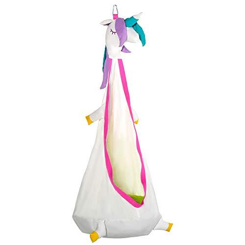 Outsunny Sedia Sospesa a Forma di Unicorno, Amaca per Bambini da Interno ed Esterno in Cotone Bianco e Rosa Φ70x150cm