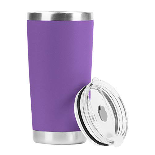 GENMOUS & CO. 20oz Double Wall Vacuum Insulated Stainless Steel Tumbler, Travel Coffee Mug with Spill Proof Slider Lid, Durable Powder Coating Cup Gift for Hot & Cold Drink(Purple,1 Pack)