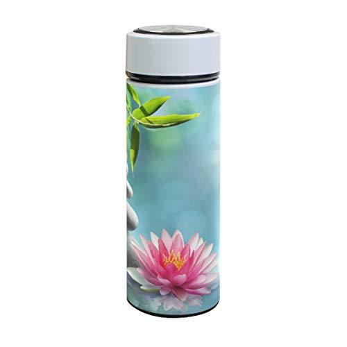 XiangHeFu thermoskan koud of warm houden lekvrije reisbeker waterfles natuurlijke alternatief therapie met massagesteen sport roestvrij staal