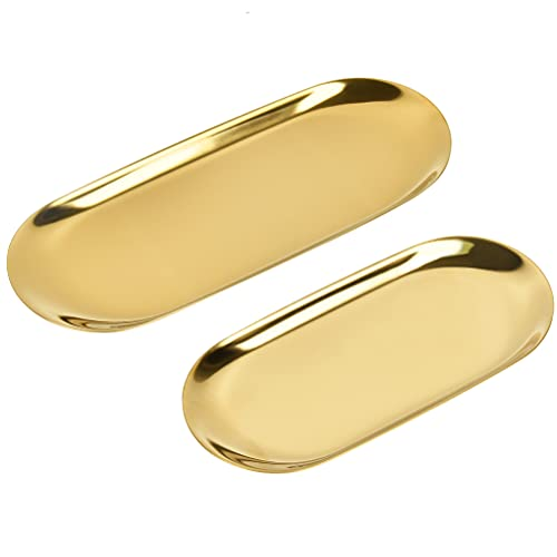 Gouden ovale RVS Snuisterijlade 2 Stks Metalen Ovale Dienblad, Gouden Dienblad Ornamenten Plaat voor het serveren van Cake Koekjes Dranken Handdoek Decoratieve Bureau Supplies