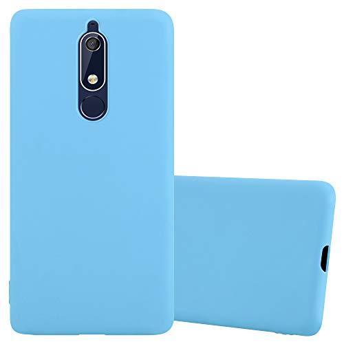 Cadorabo Hülle für Nokia 5.1 / Nokia 5 2018 in Candy BLAU - Handyhülle aus flexiblem TPU Silikon - Silikonhülle Schutzhülle Ultra Slim Soft Back Cover Case Bumper