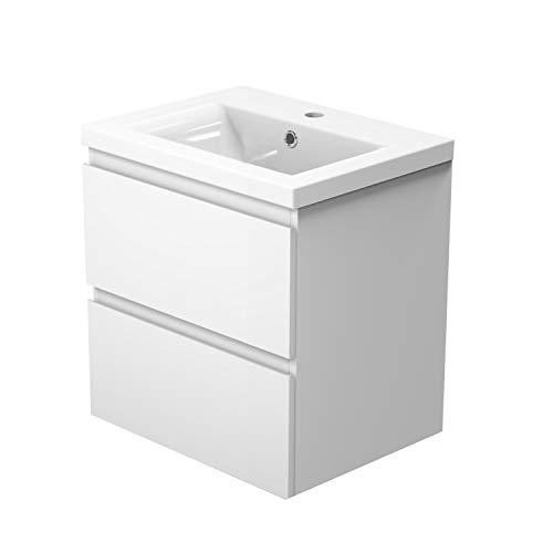 Xinyang Badmöbel Lorenza Weiß 50 cm Waschtisch mit Unterschrank inkl. 2-Schubladen Soft-Close Funktion