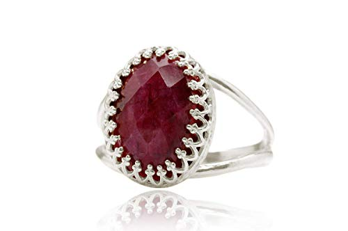 6CT Superb Ruby Ring by Anemone Jewelry - Oval Ruby July Birthstone in 925 Sterling Silver - Handcrafted Ruby Rings for Women - Artisanal Gift - Fashion Jewelry - All Sizes Available