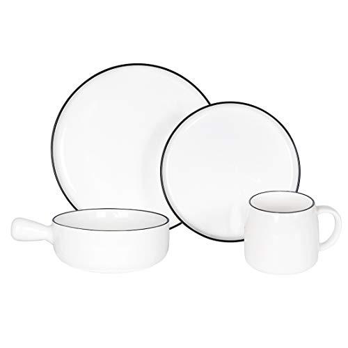BonNoces Classic White Dinnerware Set, 4-Piece Kitchen Dishes Sets with Black Edges, Plates, Soup Bowl, Mugs