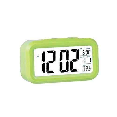 Digital Display LCD Despertador reloj con portátil Tiempo de repetición de la temperatura del escritorio del calendario del reloj digital del reloj de tabla con pilas regalos verdes para los niños