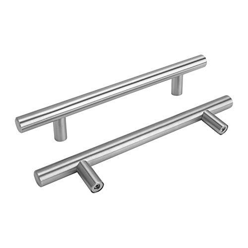 15 Maniglie a barra per Armadio da cucina in acciaio INOX, a T, cave, viti incluse