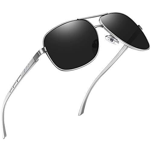 Joopin Occhiali da Sole Uomo Polarizzati Vintage Cornice in Lega Al-Mg Premium Cardini a Molla UV400 Protezione Pilota Occhiali da Guida Donna (Argento Nero)