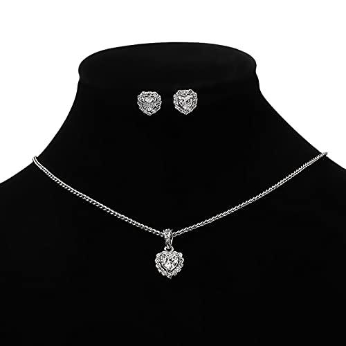 Acreny Pendientes collar conjunto viento frío en forma de corazón colgante collar luz mujer diseño lujo sentido clavícula cadena