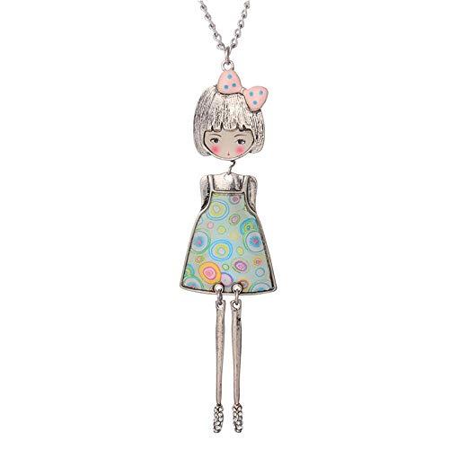 CGAYG Frauen Halskette & Anhänger Puppe Schöne Blume Kleid Anhänger Frauen Tropf Emaille Mädchen Puppe Charme Halskette 85 cm color1