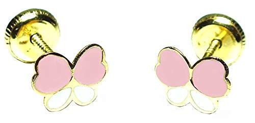 Pendientes oro 18k, bebe niña o mujer, modelo mariposa esmaltada en dos colores de maxima calidad y cierre de rosca de maxima seguirdad.