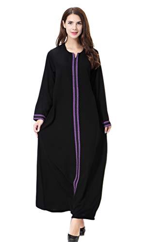 GladThink Womens Muslim Kaftan Abaya Round Neck Maxi Dress Purple XXXL