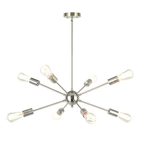 8-Light Sputnik Chandelier Modern Pendant Lighting Brushed Nickel Vintage Ceiling Light Fixture UL Listed by Vinluz